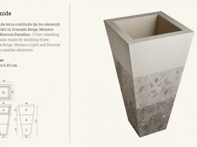 free-standing wash basin piramid - marble beige crema