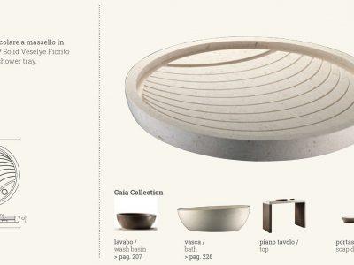 piatto doccia round in marmo beige circle